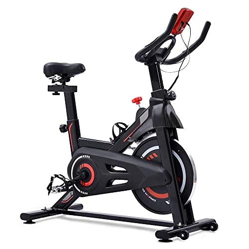 Bicicleta estática para interior con resistencia magnética, para gimnasio cardiovascular, volante de inercia de 6 kg y asiento cómodo ajustable, peso máximo de 150 kg, color rojo + metal