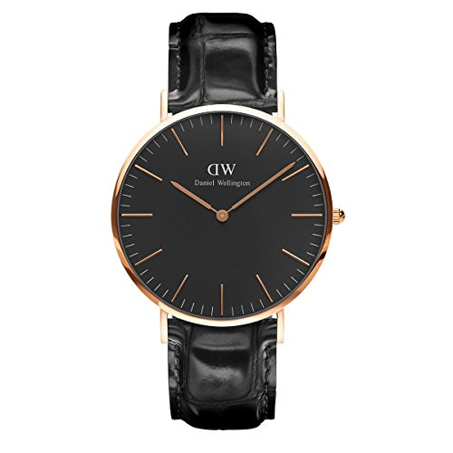 Daniel Wellington Classic Reading Orologio Uomo, 40mm, in Pelle, Nero/Oro Rosato