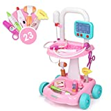 UNIH Doctor Cart Kit for Kids 3 4 5, Medical Play Set Realistic with Lights Toddlers...