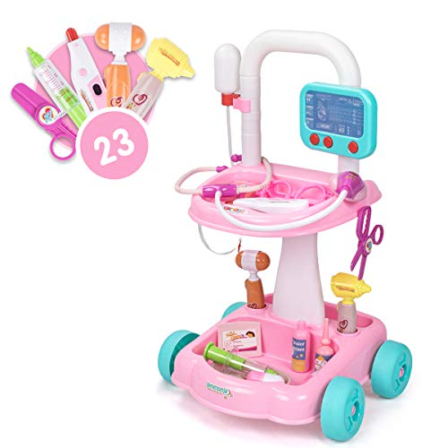 UNIH Doctor Cart Kit for Kids 3 4 5, Medical Play Set Realistic with Lights Toddlers Toys for Boys Girls 2-4 (Pink)