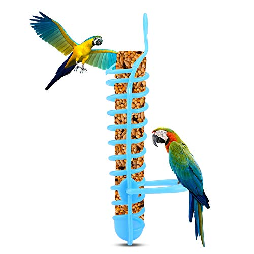 Papegaaien Feeder Mand Holle Mand Voedsel Fruit Feeding Perch Stand Opknoping Fruit Plantaardige Gierst Container Vogels feeders Vogels Voedsel Mand, Blauw