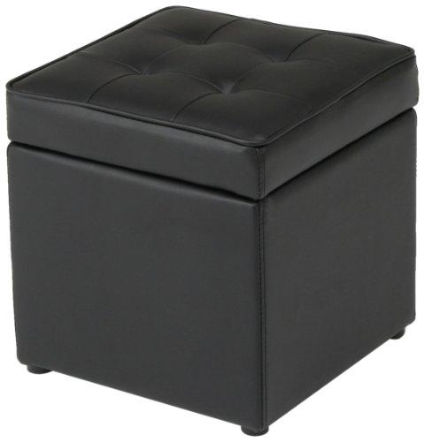 不二貿易 ボックススツール 36×36cm 合成皮革 ブラック 79256