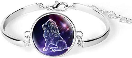 Pulsera Exquisito 12 Constelación del Zodíaco Cúpula Constelación De Cristal Pulsera De Plata Joyería De Moda Señora Aries Cáncer Libra Leo Virgo Regalo De Cumpleaños (Color: Ram) Lion