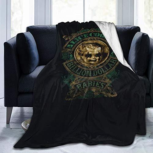 Ali-Ce Coo-Per - Coperta in flanella con frange a pompon, con stampa in pelliccia, da viaggio, leggera, per uomo e ragazza, 150 x 150 cm