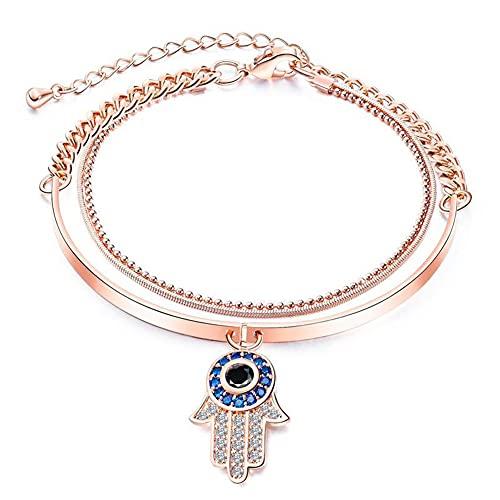 Aruie - Pulsera con colgante de mano de Fátima y palma de circonio engastado con doble cadena chapada en oro rosa, acero inoxidable ajustable