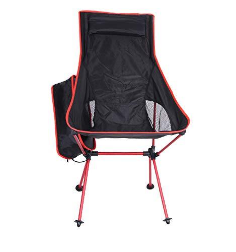 MOKA OUTDOOR Tragbarer Camping Klappstuhl, ultraleichter Rucksack mit Tragetasche, geeignet für Outdoor, Camping, Angeln, Strand, Multi-Color,Red