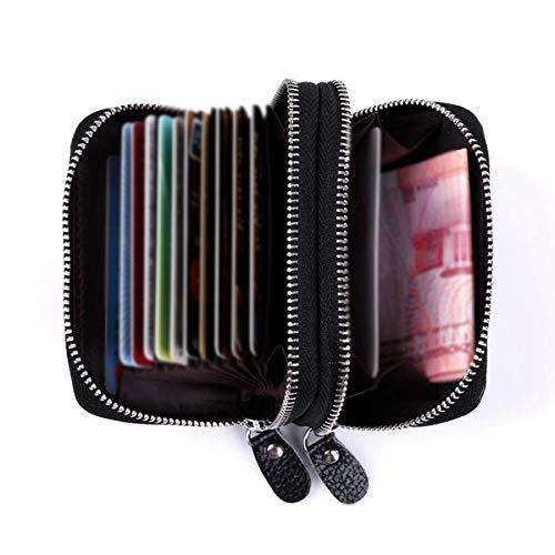 Leder Karten Geldbörse Leder Kreditkartenetui RFID Scheckkarten Kartenetui Visitenkartenetui Hülle-Halter-Schutz Damen Herren 12 Fächer (Doppelschicht)