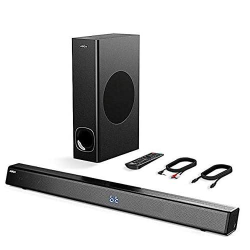 Soundbar 2.1 Kanal,ABOX Bluetooth 4.2 +EDR Lautsprecher System mit Subwoofer 120W RMS unterstützt ,Koaxial, 3,5 mm Audio AUX,Lichtwellenleiter für TV,Modell FS22CS, Schwarz