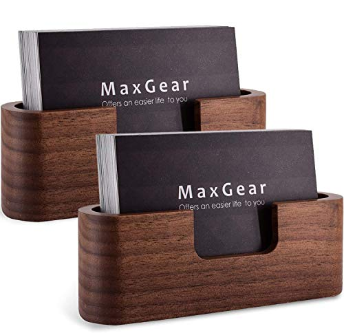 MaxGear Business Card Holder Wood Business Card Holder for Desk Business Card Display Holder Desktop Business Card Stand for Office,Tabletop - Oval 2 Pack