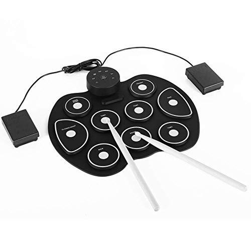 Batería electrónica de la mano Roll tambor, equipo con altavoces pedales, baquetas,...