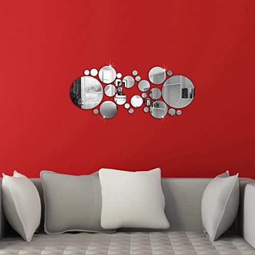 OMGAI Adesivo specchio circolare tondo per la decorazione domestica dell'autoadesivo della parete 16 centimetri L X 16 cm L Argento