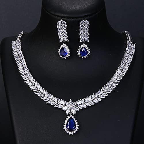 yuge Joyería nupcial de la boda conjunto 925 plata esterlina collar pendientes rubí gota agua diseño moda regalo azul