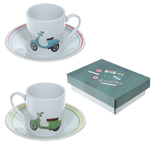 Espressotasse & Untertasse 2er Set Scooter Speed King