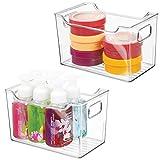 mDesign Set da 2 Contenitori per il bagno – Organizer per il bagno di plastica per cosme...