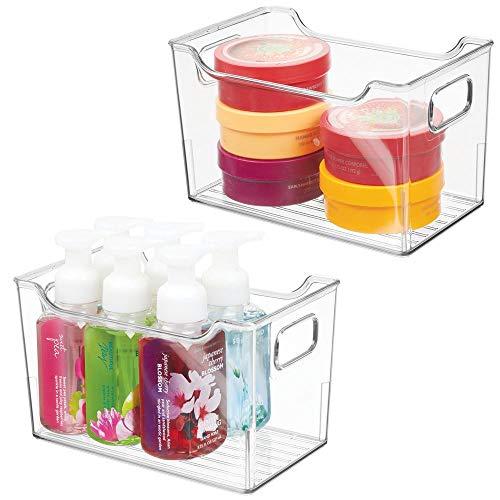 mDesign 2er-Set Ablagebox mit integrierten Griffen – transparente Aufbewahrungsbox mit ansprechendem Design – ideal zur Kosmetikaufbewahrung im Bad – durchsichtig