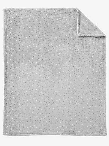 Vertbaudet Baby-Decke mit Sternen, Mikrofaser hellgrau 75X100