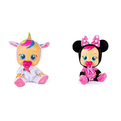 Bebés Llorones Fantasy Dreamy Unicornio Muñeca Interactiva Que Llora De Verdad + Minnie Muñeca Interactiva Que Llora De Verdad con Chupete Y Pijama De Minnie, Muñeco para Niñas Y Niños + 18 Meses