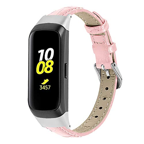Miya System Ltd Armband für Galaxy Fit SM 370, Echtlederband Schlankes Armband Ersatzzubehör Verstellbares Armband Damen Herren Kompatibel für Galaxy Fit SM-R370 (M6)