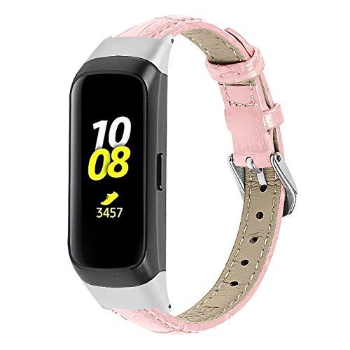 TechCode Galaxy Fit SM-R370 Pulsera para Mujer, Slim Reemplazo de Correa de Cuero Genuino con Accesorios de Hebilla de Metal Correas Transpirables para Samsung Galaxy Fit SM-R370 (Pink)