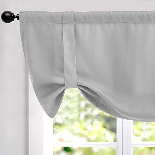 Lazzzy cenefa de 18 pulgadas, color gris para cocina, cortina oscurecedora para ventana con aislamiento térmico ajustable, cortinas de bolsillo para barra de cortina, 1 pieza