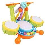 Juguete de Tambor para niños, Instrumentos Musicales de plástico Juguetes de batería, Funciones diversas Fiesta para niños Hogar de niños(Yellow)
