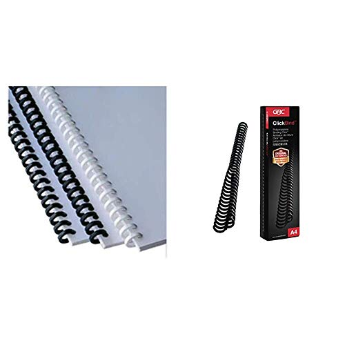 GBC ClickBind 387357E - Canutillo Clic, 16 mm, 145 Hojas de Capacidad, A4, 34 Bucles + ClickBind, Peines de encuadernación click para 45 hojas A4, 34 bucles, Negro (Black), Caja de 50 x 8 mm