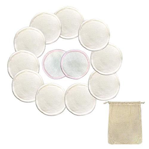 Katpost 12PCS Démaquillants Fibre de Bambou Tampons Démaquillants En Bambou bio Réutilisables Avec Sac À Lessive,Visage Nettoyage Lavable Yeux Maquillage,Super Doux
