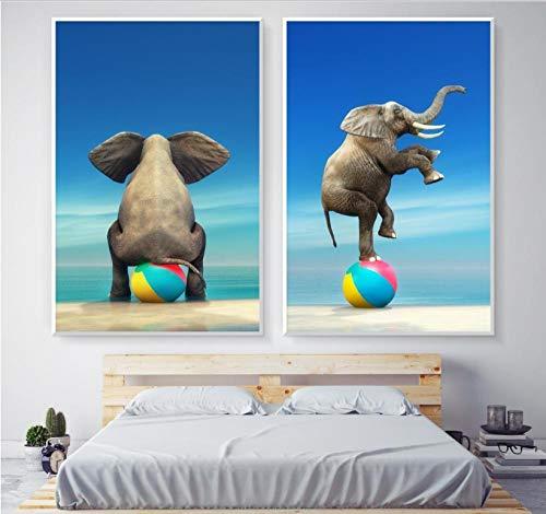 Creatieve olifant op de ballon kinderen versieren de muur foto canvas schilderij poster woondecoratie 40X60cmX2 (frameloze)