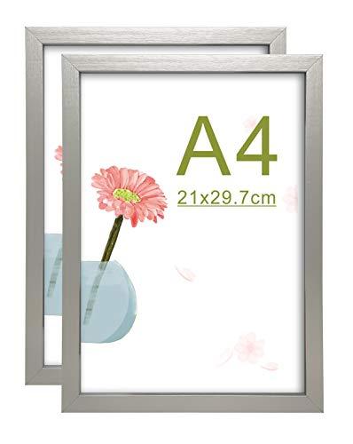 A4 21 x 29,7 cm cornici Foto in MDF con Vetro HD Set di 2 (Argento)