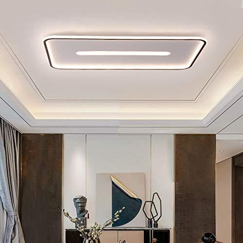 Plafón LED,Lámpara De Techo,para Sala De Estar, Cocina, Balcón, Baño,Lámpara De Techo con Marco Negro Led Rectángulo Moderno Minimalista,Warm Light,50 * 50cm50W