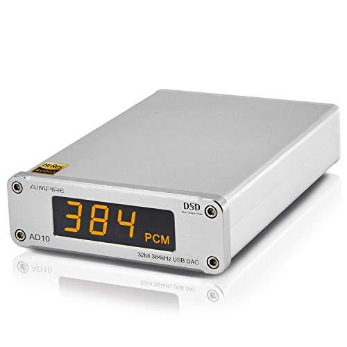 AIMPIRE AD10 Mini USB DAC CSS XMOS XU208 ES9018K2M OPA2134 Audio Amplifier Decoder (D10 Silver)