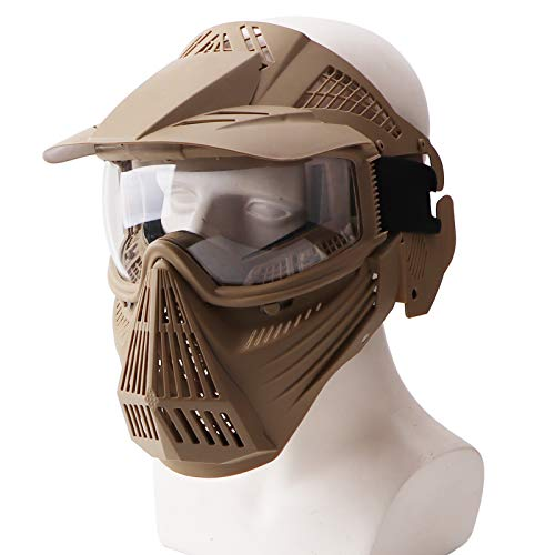 Rinling Paintball Mask, Airsoft Mask Full Face Protection Gear with Goggles Impact Resistant for Hunting CS Airsoft Paintball Game and Other Outdoor Activities (Tan-Clear Lens)