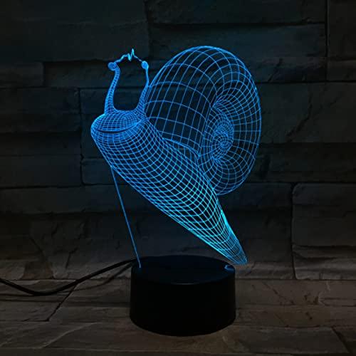 Lámpara de noche Led 3D creativa, caracoles bonitos para decoración de dormitorio, luz nocturna, regalo de visión cambiante de 7 colores para niños, luz de noche Led