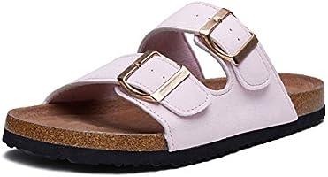 mysoft Womens Slide Sandals Cork Footbed,2 Straps Adjustable Buckle Slip on Sandals with +Comfort Arch Support
