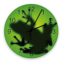Prime Leader Wall Clock Non-Ticking 12 Inch Round Wooden Clock Green Frog Shadow Silent Battery Operated Clock Decorative Living Room Hanging Clocks