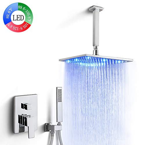 Dr Faucet Ceiling Mount LED Rainfall Shower Faucet Luxury Mixer Shower Combo Set 3 Colors Changing 12 Inchs LED Rain Shower System, Polished Chrome Finished