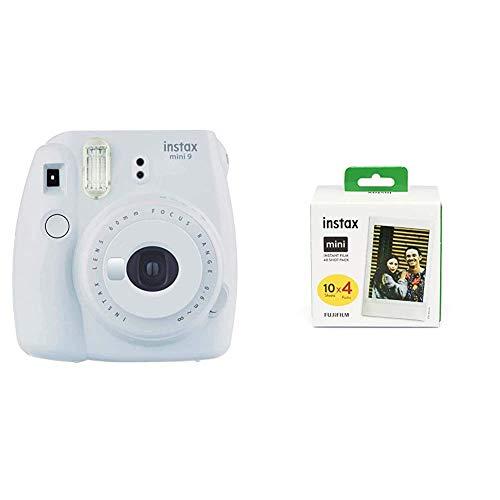 Fujifilm instax Mini 9 Kamera, Smoky weiß & Mini Instant Film, 1x 40 Blatt (40 Blatt), Weiß