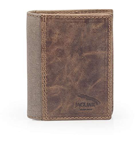 JAGUAR. Cartera de Caballero Fabricada en Piel y Lona colección Oregón Mod.1569 OG (marrón)