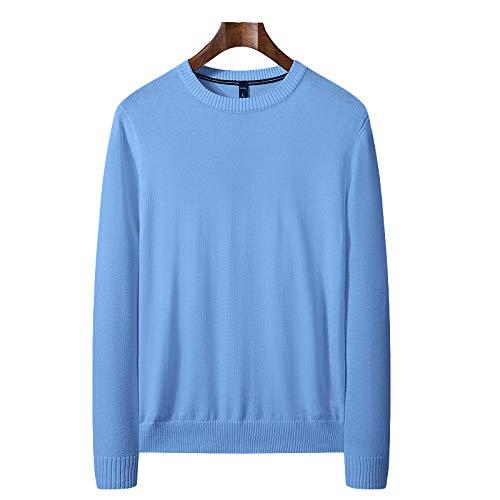 Jersey Fino de Cuello Redondo para Hombre Jersey de Punto Fino Slim Fit Stretch Color sólido Clásico básico Casual Pullover XX-Large