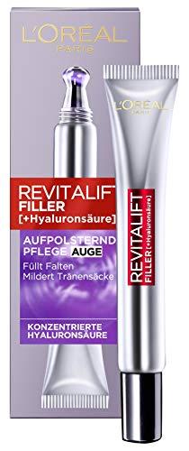 L'Oréal Paris Hyaluron Augenpflege, Revitalift Filler, Anti-Aging Augencreme, Revolutionäre Doppel-Applikatorspitze, Mit Hyaluronsäure, 2 x 15 ml