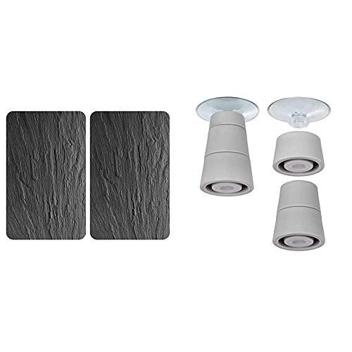 WENKO Plaque de protection en verre universel Ardoise - lot de 2, 30 x 52 cm & Pieds pour plaques de protection - pieds de rechange, Polychlorure de vinyle, 4.4 x 5 x 4.4 cm