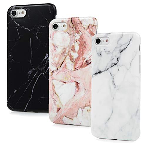 Cover per iPhone 8/7/SE 2020, in silicone marmo opaco, motivo morbido per uomo e donna