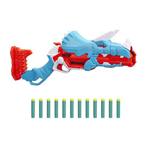 NERF DinoSquad Tricera-Blast Dart Blaster, Break-Open 3-Dart Loading, 12 Official Darts, Dart Storage, Triceratops Dinosaur Design