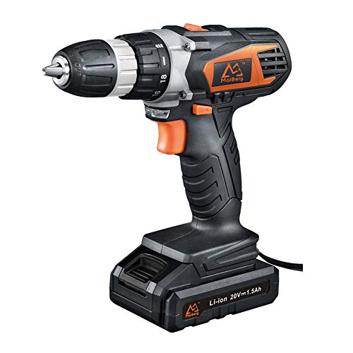 Cordless Drill, Power Drill Driver 20V with 1x1.5Ah Batteries, Fast Charger 1.3A, 18+1 Torque Setting, 2-Variable Speed Max Torque 250 In-lbs, 3/8' Keyless Chuck