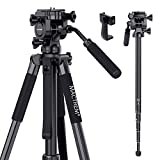 Mactrem 65'' Camera Tripod, Travel Tripod with Fluid Head, Lightweight Aluminum for DSLR SLR Canon Nikon Sony Olympus DV, Tripod with Carry Bag -8.8 lbs(4kg) Load