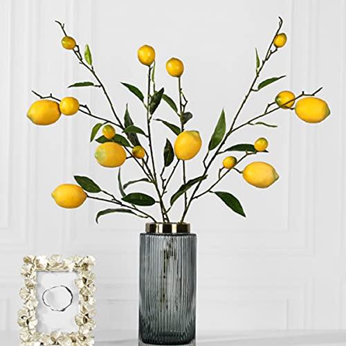 Rinlong Artificial Lemon Branches for Kitchen Party Decoration Yellow Fake Lemon Decor Farmhouse Style Home Table Centerpiece