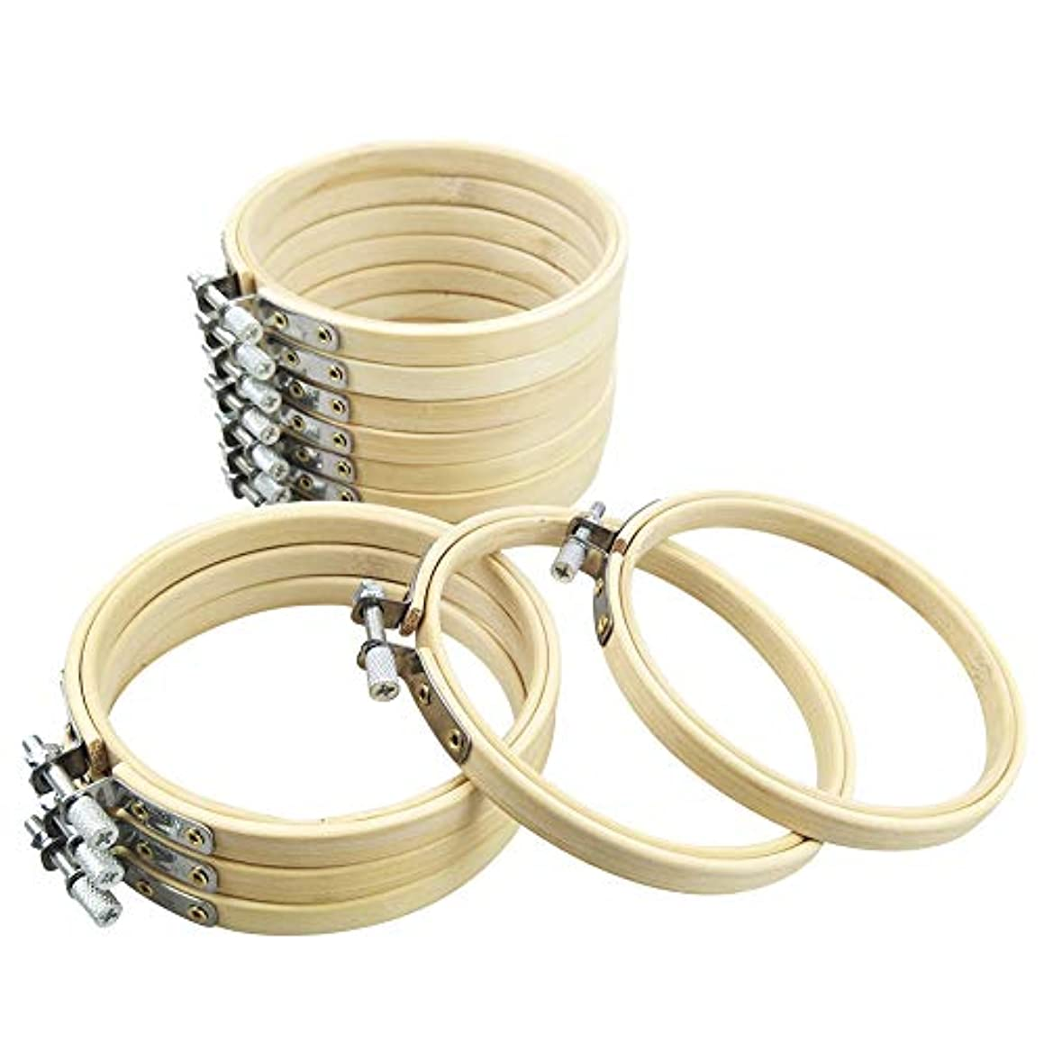 Sibosen 4 Inch Round Embroidery Hoop Bulk Wholesale 12 Pieces Bamboo Circle Cross Stitch Hoop Ring