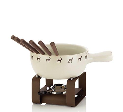kela Henrik Set per fonduta di Formaggio, Ceramica, Crema, 32 x 22.5 x 24 cm, 9 unità