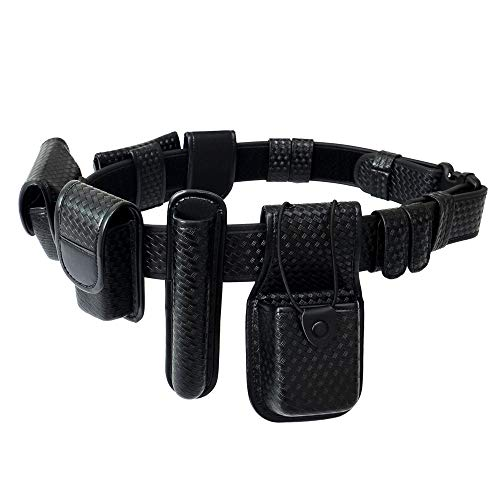 YunShao 8-in-1 Duty Utility Belt Rig, Police Duty Belt kit with Pouches - Handcuff Case, Radio Pouch, Glove Pouch, Light Holder, Baton Holder, MK3 Holder, Belt Keeper, Basketweave (Large)