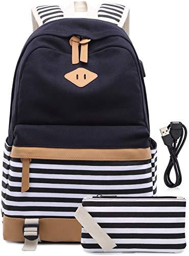 Schulrucksack Mädchen Teenager Streifen Schultasche Segeltuch Rucksack mit 15.6 Zoll Laptopfach mit USB Ladeanschluss und Geldbeutel Tasche 2 Stück Schwarz